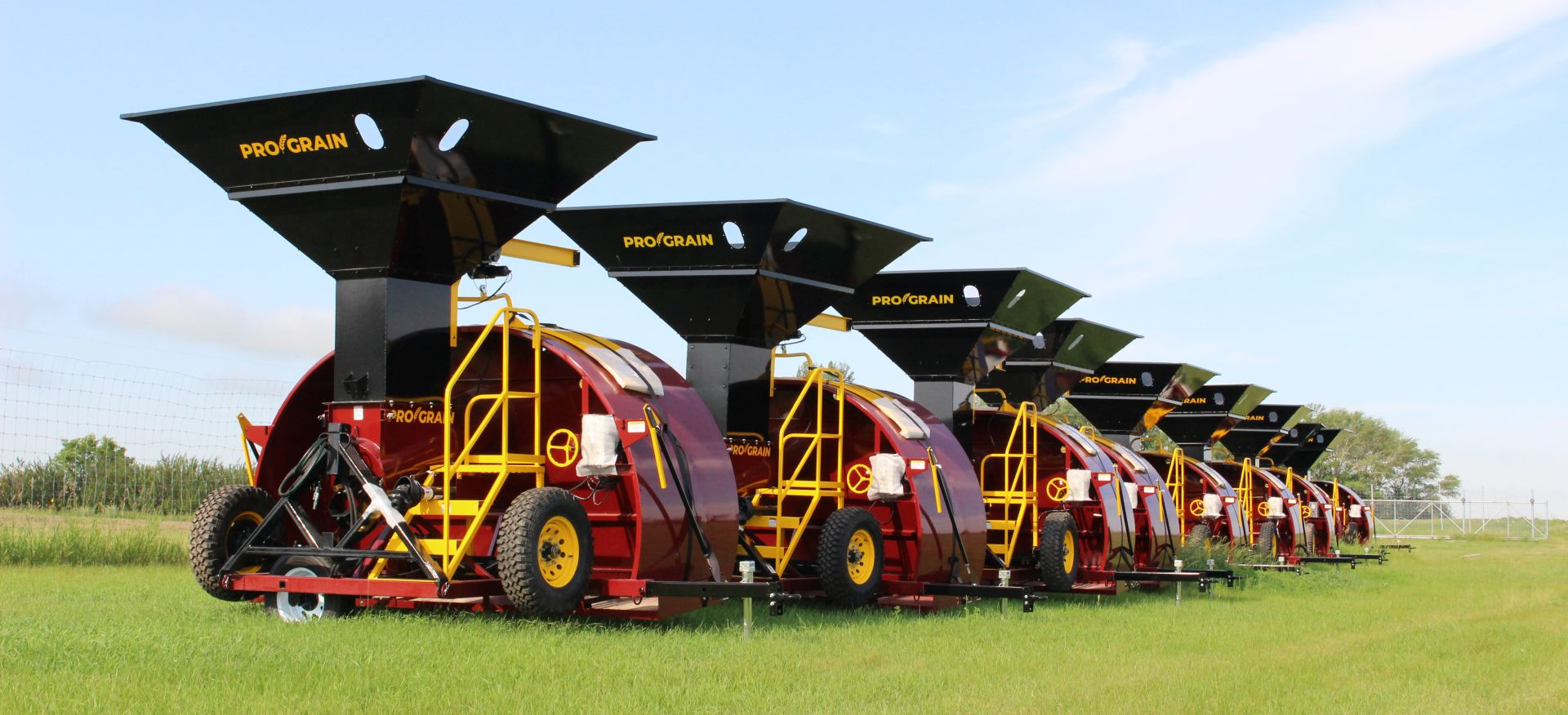 Pro Grain Grain baggers lined up in a row