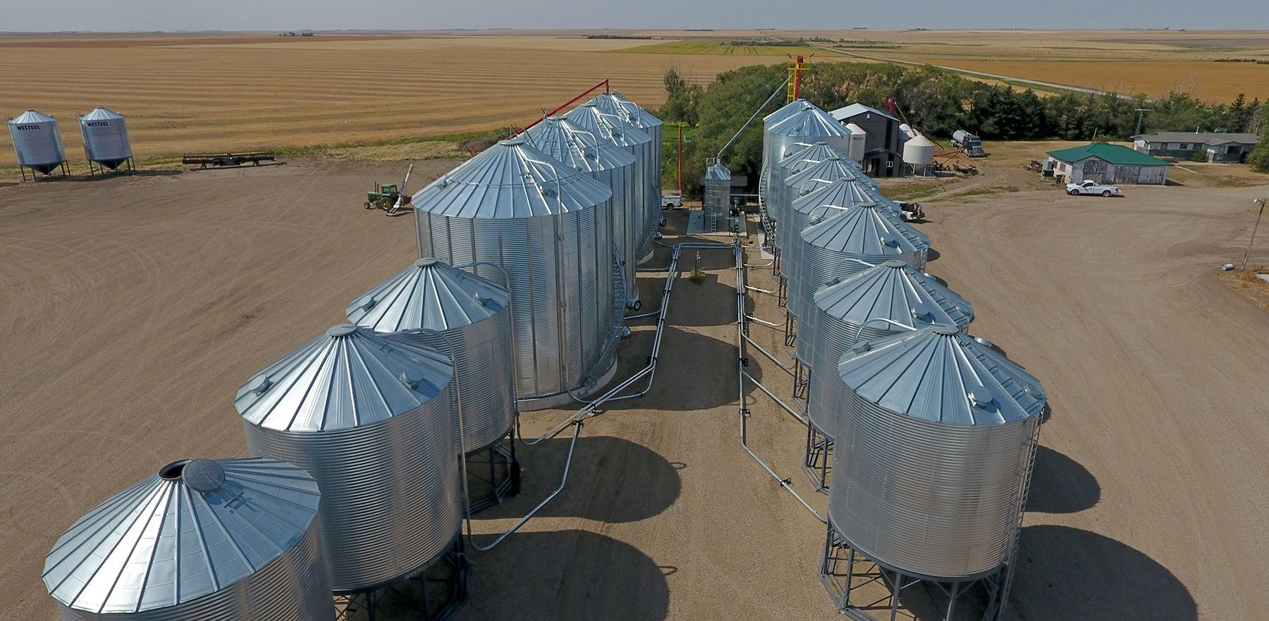 Drone footage of a grain drying & grain handling setup