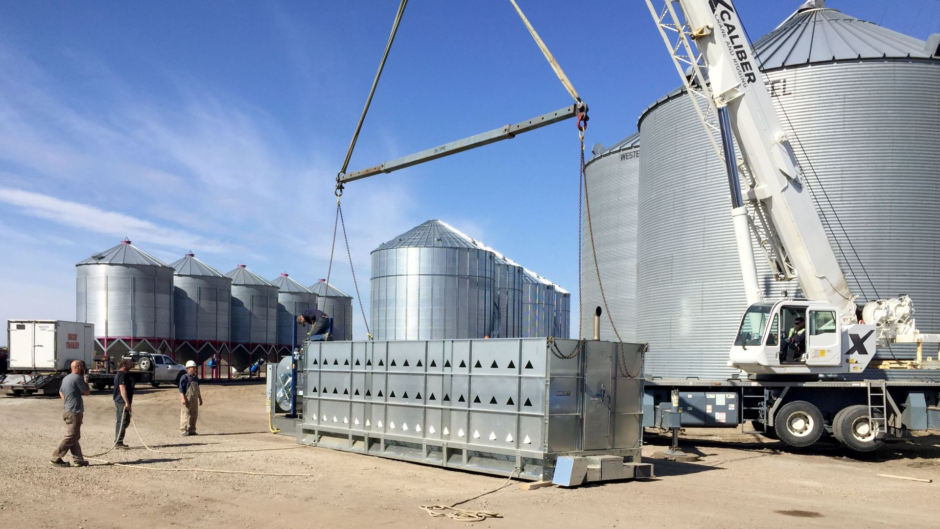 NECO Grain Dryer being unloaded