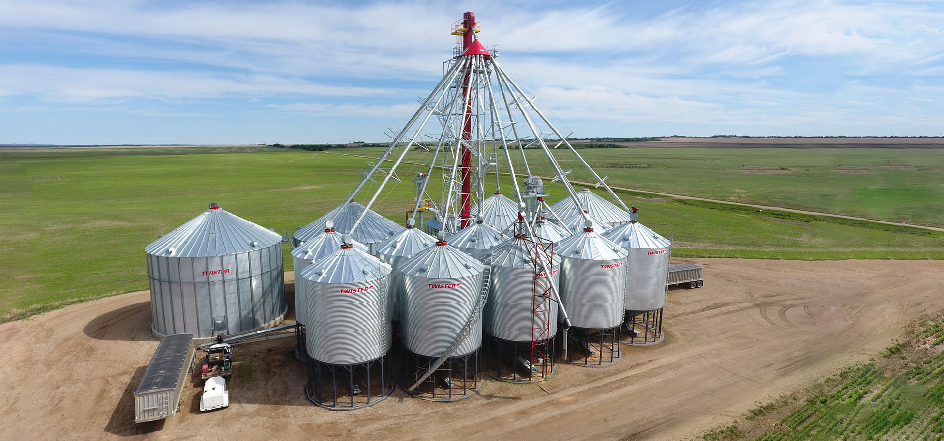 Complete Grain Handling Site with Bucket Elevators