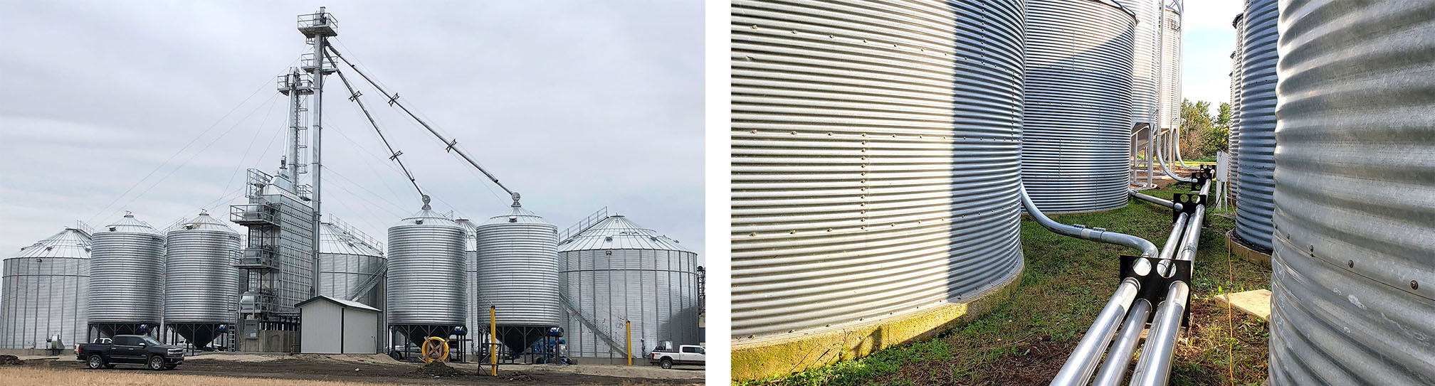 Bin Site with NECO Grain Dryer & Bucket Elevators / Walinga Pipe, Distributor