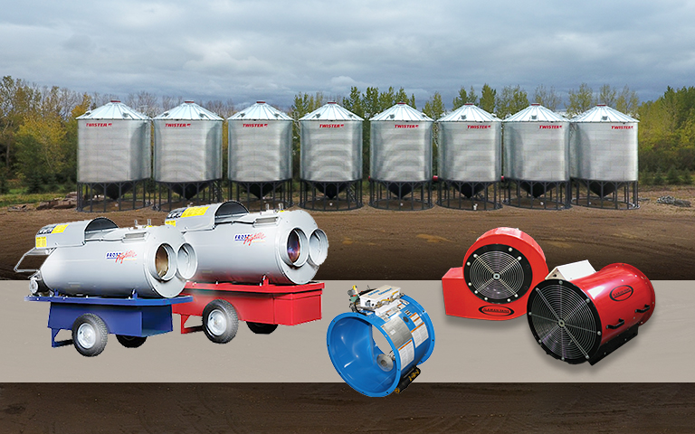 Image of portable heaters and Frost Fighters in front of Twister grain bins